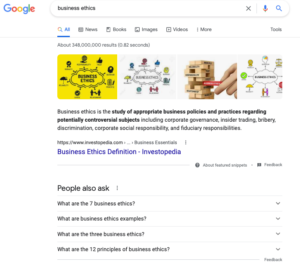 business ethics google search